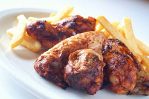 glazed chicken with fries